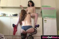 Haired dyke brunettes lick and finger each other in the kitchen