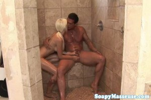 Stevie Shae inked blonde masseuse cocksucks cowboy in the shower