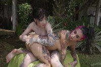Joanna Angel and Charlotte Sartre licking pussies and fingering asses outside
