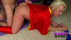 Tanya Lixxx supergirl cosplay blonde tries anal sex