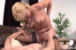 Busty blonde German wife bounces on hubby's dick