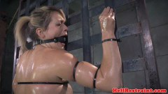 Oil bitch bonded and caned before NT