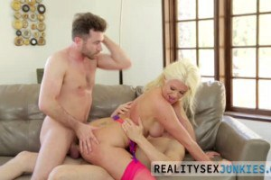 Layla Price blonde hottie in stockings gets double penetrated on the couch