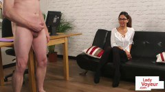 Posh spex peeping Pam instructs and watches slave