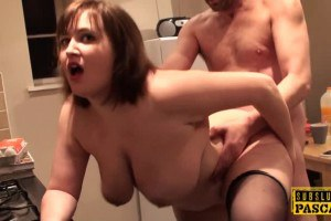 Plussize posh wife in stockings bounces titties while getting fucked