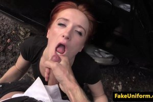 Ginger prostitute fucked from behind before sucking cop's dick