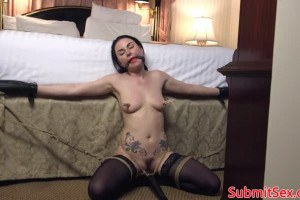 Veruca James gagged sub fucked in the butt by kinki dom