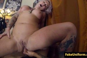 Inked British amateur with big titties assfucked by police officer