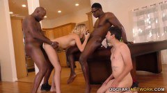 Haley Reed humiliates cuckold with two afro american cocks