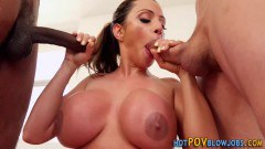 Ariella Ferrera lustful cougar with huge boobs deepthroats two cocks