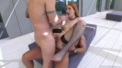 Luna Melba ginger goddess in fishnets double penetrated and mouth jizzed