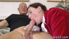 Lara Latex elegant British mature doggystyeld before sucking cock