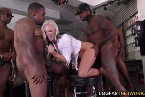 Alena Croft busty blonde MILF assdrilled in interracial gang bang