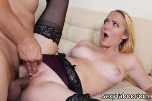 Iris Rose beautiful blonde babe in lingerie screwed on the sofa