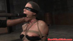 India Summer fit MILF sub blindfolded and throated with toy by dom