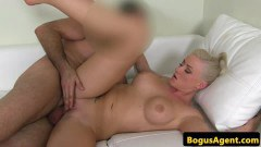 Short haired blondie toys snatch before getting fucked by agent