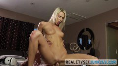 Emma Hix sexy blonde stepdaughter rides stepdaddy's big cock