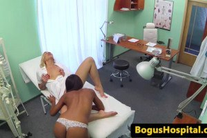 Ebony patient muff diving with super hot lesbian nurse