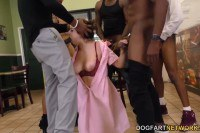 Elektra Rose pretty waitress gets gang banged by black customers