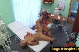 European blonde with big tits gives bj to doctor before sex