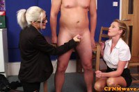 English department femdoms wank slave in breakroom