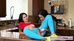 Akira Shell hot tattooed teen lesbo disciplined in the kitchen by lesbian stepmom Aerial Cruz