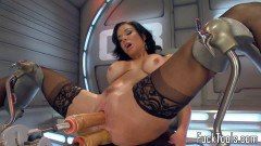 Veronica Avluv naughty mommy in stockings gets double penetrated by fuck tools