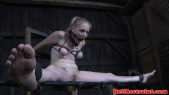 Disciplined slave breast bonded and toyed