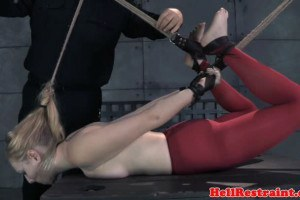 Nipple clamped sex slave snatch toyed by maledom