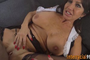 Mature maid with huge boobies takes BBC inside her twat