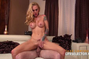 Sarah Jessie big boobed hottie with tattoos sucks and rides like a pro