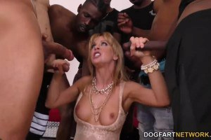 Cherie DeVille MILF cock addict in interracial blowbang