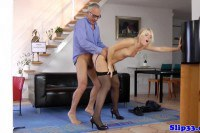College girl pussyfucked from behind by lucky old man