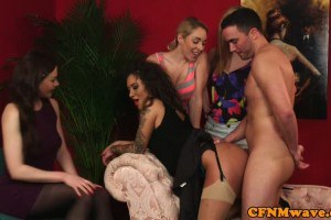 Cfnm glam doms doggie-style slave after head