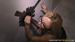 Riley Star petite blonde with spex blows BBC at gloryhole