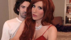 Adorable redhead with nice boobs toyed and fucked by hubby
