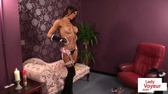 Lingeried UK maid instructs slave to jerkoff