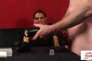 Posh female domination instructs sex slave to jerkoff with fleshlight