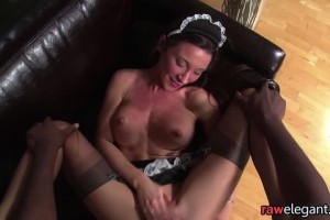 Gaping ass maid gets fucked with a big afro cock