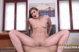 POV babe suck dicks and gets fucked at the office