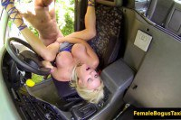Big boobed blonde cabbie fucked by black passenger on the backseat