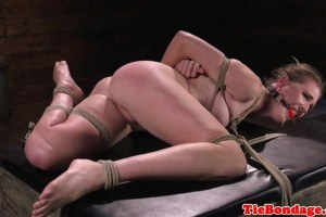 Tied up bdsm sex slave whipped and beaten