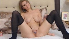 Lovable light-haired Romanian debutante plays with her nice big boobs and twat