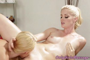 Skinny blonde pussylicked by the horny lesbian masseuse