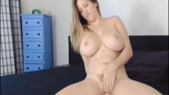 Beautiful newbie with big breasts rides her brand new dildo