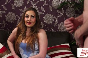 UK hot clothed female instructs slave to jerkoff