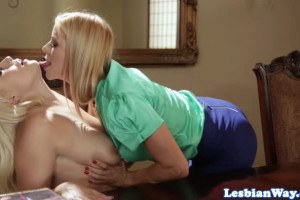 Alexis Fawx sexy blonde boss seduces the young assistant