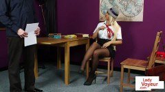 Disobedient English university tease teacher in JOI