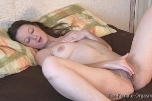 British seductress with natural breasts masturbates to orgasm