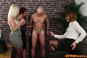 Office femdoms humiliate naked sub in CFNM fantasy